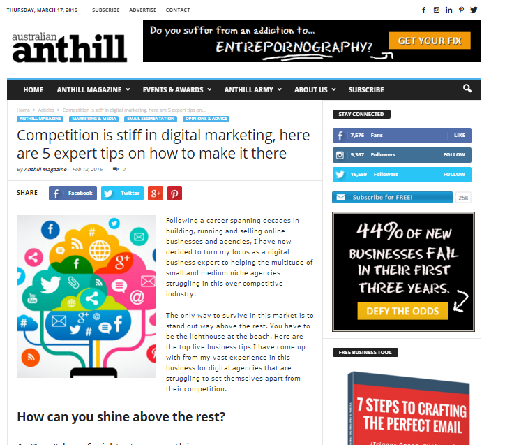CEO OF SEO RESELLERS AUSTRALIA – APPEARANCE IN ENTREPRENEUR MAGAZINE ANTHILL ONLINE