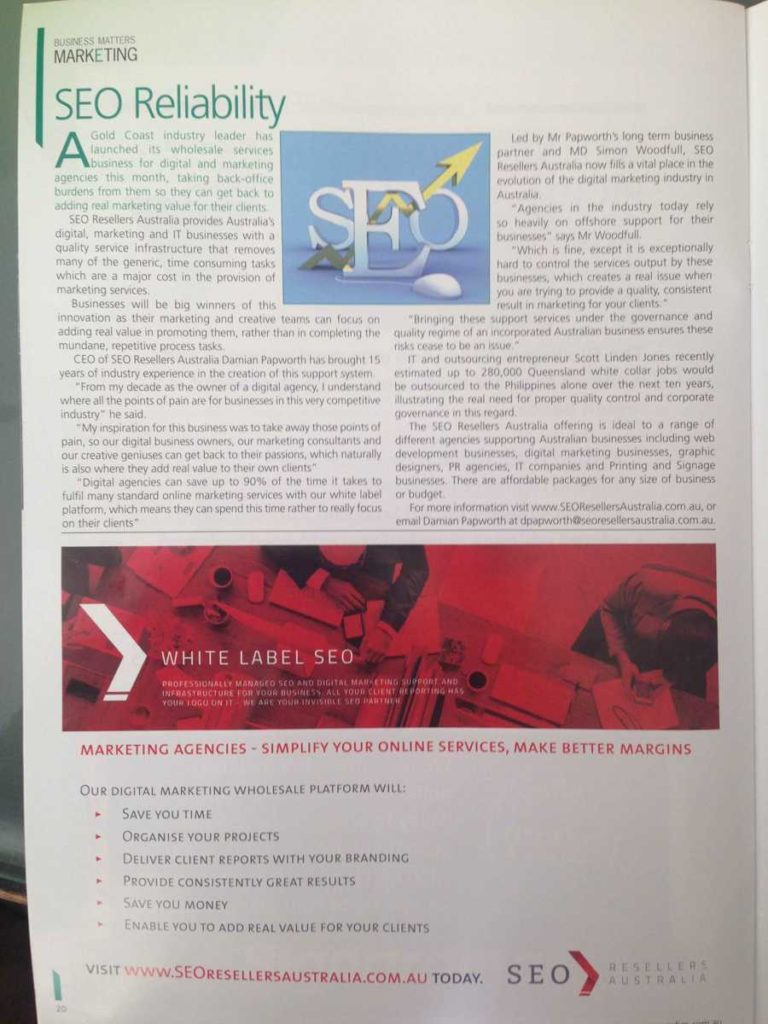 Northern Rivers Business Magazine Picks Up SEO Resellers Australia Launch